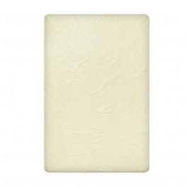 Едноцветен двоен чаршаф от памучен сатен в цвят екрю, размер 240/260