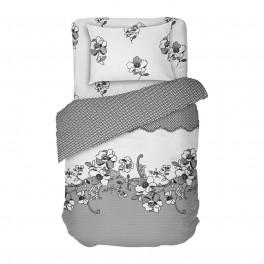 Спално Бельо в Единичен Размер - Дантела, В Бяло и Сиво, Шарка наподобяващ Дантела, 100% Памучен Сатен