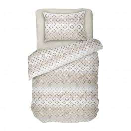 Спално Бельо в Екрю от Памучен Сатен - Диана 2, Семпъл Фигурален Десен на Квадратчета, за Единично Легло