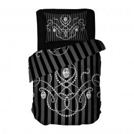 Единичен Размер Спално Бельо на черно райе - Либърти Черно, 100% памучен сатен