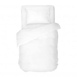 Бяло едноцветно спално бельо от 100% памучен сатен, единичен размер
