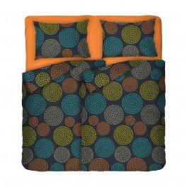 Фигурално Спално Бельо Вива за Спалня с Два Плика, Материя Ранфорс, Разноцветен Десен, Цветни Фигури върху Черен Фон, 100% Памук