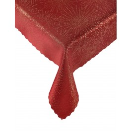 Червена покривка за маса със златисти орнаменти - Заря Червено, размер 150х220 см