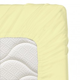 200/200/20 см., чаршаф с ластик ранфорс - светло жълто