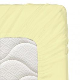 70/140/16 см., бебешки чаршаф с ластик ранфорс - светло жълто