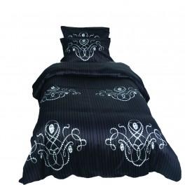 Единичен Размер Спално Бельо в Черен цвят Либърти Черно 2, 100% Памучен Сатен