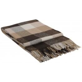 Кафяво одеяло с вълна, на квадрати - ПАЛЕРМО, размер 140/200 см