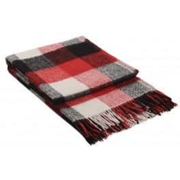 Одеяло в черно и червено с вълна, на квадрати - ПАЛЕРМО, размер 140/200 см