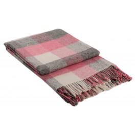Розово одеяло с вълна, на квадрати - ПАЛЕРМО, размер 140/200 см.