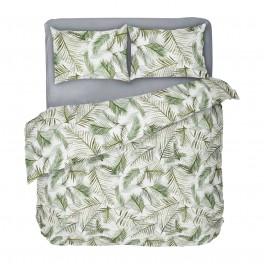 Екзотично спално бельо Тропикана с десен на палмови листа, двоен размер с един спален плик, 100% памук ранфорс