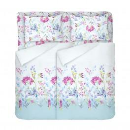 Бяло Спално Бельо на Цветя в Двоен Размер с Два Плика, Април, В ярки и красиви цветове, 100% Памук
