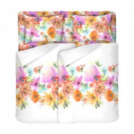Бяло Спално Бельо на Цветя, в Двоен Размер с Два Плика СЪМЪР, Цветно Спално Бельо, 100% Памук, за Спалня