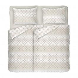 Спално Бельо в Екрю от Памучен Сатен Диана 2, Семпъл Фигурален Десен на Квадратчета, за Спалня с Два Плика