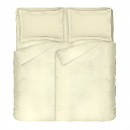 Едноцветно спално бельо в екрю, Двоен размер с два спални плика, Памучен Сатен за спалня