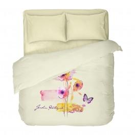 Двойно Спално Бельо от Памучен Сатен в Бяло, с Ярки, Разноцветни Фигури и Красиви Пеперуди АРТ, Един Спален плик, 100% Памук