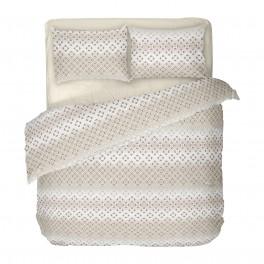 Спално Бельо в Екрю от Памучен Сатен - Диана 2, Семпъл Фигурален Десен на Квадратчета, за Спалня с Един Плик