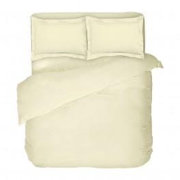 Двоен размер едноцветно спално бельо в екрю от Памучен Сатен