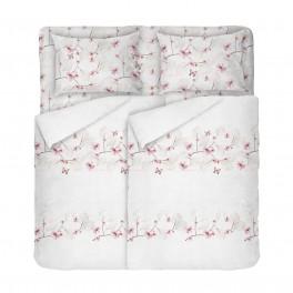 Спално Бельо в Бяло на Цветя и Пеперуди, в Двоен Размер с Два Плика, за Спалня, Красиво Спално Бельо МАРИ