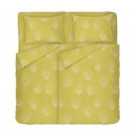 Спално Бельо в жълто с мотив на листа Грейс 2, Размер за Спалня с Два Плика, Висококачествено спално бельо с оригинален десен