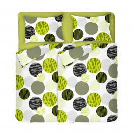 Спално бельо фреш на зелени и черни кръгове върху бял фон, В Двоен Размер с Два Плика, Високо качество на материята, 100% Памук