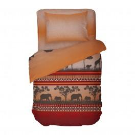 Спално Бельо Африка в Единичен Размер, Екзотичен и Интересен Десен за Вашата Спалня, Висококачествена Материя Ранфорс