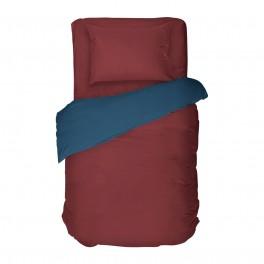 Двулицево спално бельо в единичен размер - БОРДО И СИНЬО, материя Ранфорс - 100% памук