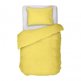 Жълто на Бели Точки, Единичен Размер Спално Бельо Кресида 2 от 100% Памук, ниска свиваемост, устойчиви цветове
