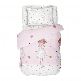 Детско спално бельо за единично легло - Желание, Десен за момичета в розово и бяло на звездички, 100% памук