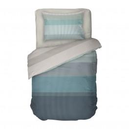 Единично Спално бельо в тюркоазено и сиво на геометрични фигури - Нептун, 100% памук Ранфорс