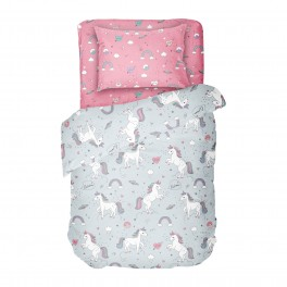 Детско Спално Бельо Еднорог в Единичен Размер, 100% памук Ранфорс, Розово и Сиво с Еднорози и Дъги