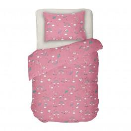 Детско Спално Бельо Еднорог 2 в Единичен Размер, 100% памук Ранфорс, Розово и екрю