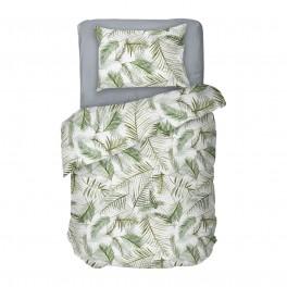 Спално Бельо в бяло на палмови листа Тропикана, Единичен Размер, 100% Памук Ранфорс