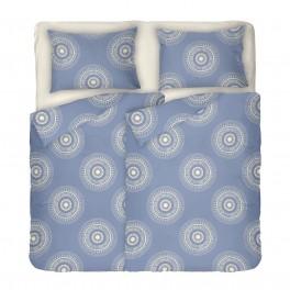 Двоен комплект спално бельо в синьо с два спални плика - КАЗА 2, на кръгли фигури в екрю, високо качество на материята, 100% памук