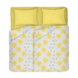 Двоен Размер Спално Бельо в Жълто и Сиво с Два Плика, КРЕСИДА, Жълти Цветя, Калъфка на Точки, за Спалня