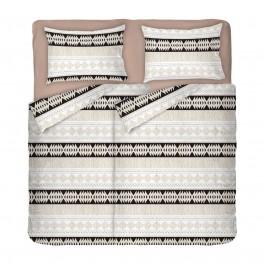 Фигурално Спално Бельо в екрю и кафяво Етно 2, 100% памук Ранфорс, довен размер с два спални плика