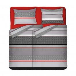 Двоен Размер Спално Бельо в Черно, Червено и Сиво, с Два Плика, Стилно Спално Бельо Грид, за Спалня