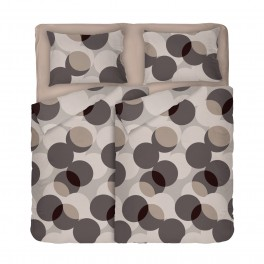 Двоен Размер Спално Бельо на кръгове с Два Плика, в Бежово и Кафяво Мик Мак, Висококачествена Материя с Ниска Свиваемост, 100% Памук