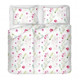 Спално Бельо в Бяло на Цветя Сабрина 2, за Спалня с Два Плика, Качествена Материя Ранфорс, 100% Памук