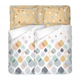 Спално Бельо в пастелни цветове Серена, двоен размер с два спални плика, 100% памук ранфорс