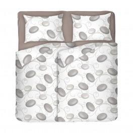 Двоен спален комплект в бял цвят на сиви камъни - ДЗЕН 2, С два спални плика, Семпъл и красив десен