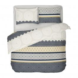 Спално бельо Ранфорс за Спалня с Един Плик, Черно и Бяло АМИРА със Стилен Дизайн, Фигурални Мотиви