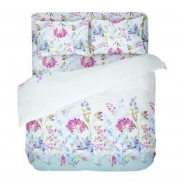 Спално Бельо на Цветя в Синьо, за Спалня, с Един Плик, Април100% Памук