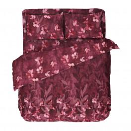 Оригинално Спално Бельо Ранфорс, Двоен Размер с Един Плик в Бордо, Спално Бельо на Цветя Бохемия, 100% Памук