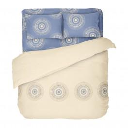 Двоен размер спално бельо в екрю и синьо - КАЗА, С един спален плик, Семпъл дизайн в приятни цветове, 100% памук Ранфорс