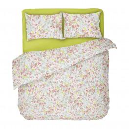 Двойно Спално Бельо в Бяло с  Един Плик, на Нежни Листенца в Различни Цветове, Спално Бельо от Ранфорс Клер, 100% Памук