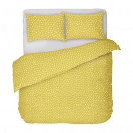 Жълто на Бели Точки, Спално Бельо в Двоен Размер с Един Плик Кресида 2 от 100% Памук, ниска свиваемост, устойчиви цветове