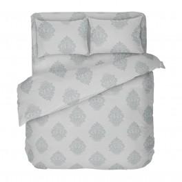 СПАЛНО БЕЛЬО В сиво ГЛОРИ 2, 100% памук РАНФОРС, двоен размер с един спален плик