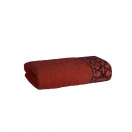 Луксозна Хавлиена Кърпа в Цвят Теракота с Красив Борд - Терра, Плътна и Мека, 50/90 см.