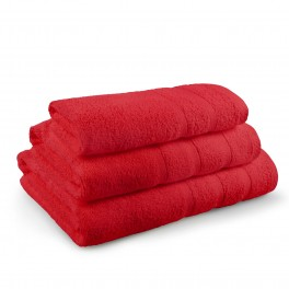 Комплект от 3 Броя Червени Хавлиени Кърпи - Перла, в Три Размера, 400 г/м2