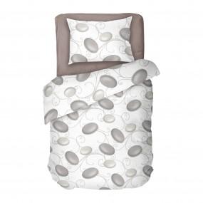 Единичен спален комплект в бял цвят на сиви камъни - ДЗЕН 2, Семпъл и красив десен, Висококачествена материя